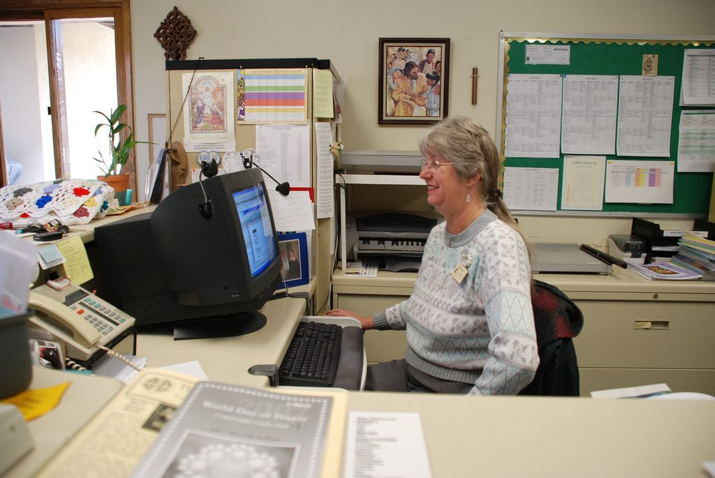 A woman doing some clerical work