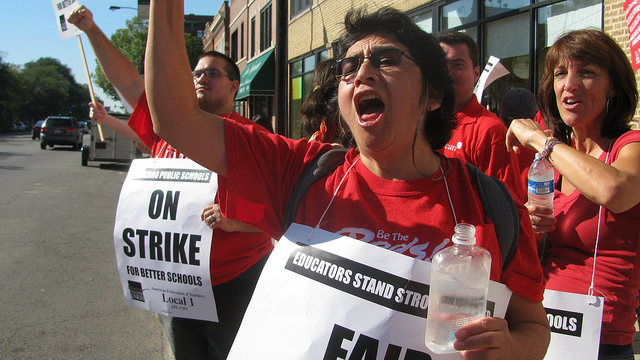 A group of teachers participating in the Chicago Teachers Strike