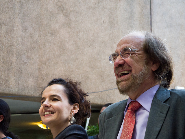 Two sociologists laughing together