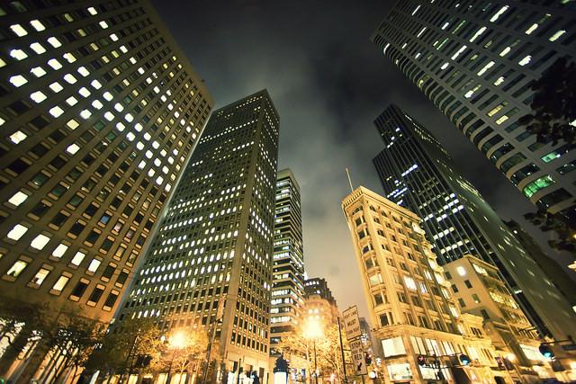 A lit up skyline