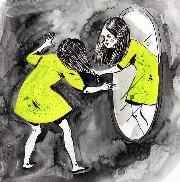 A cartoon showing a girl's reflection coming out of a mirror and pulling the hair on the actual girl