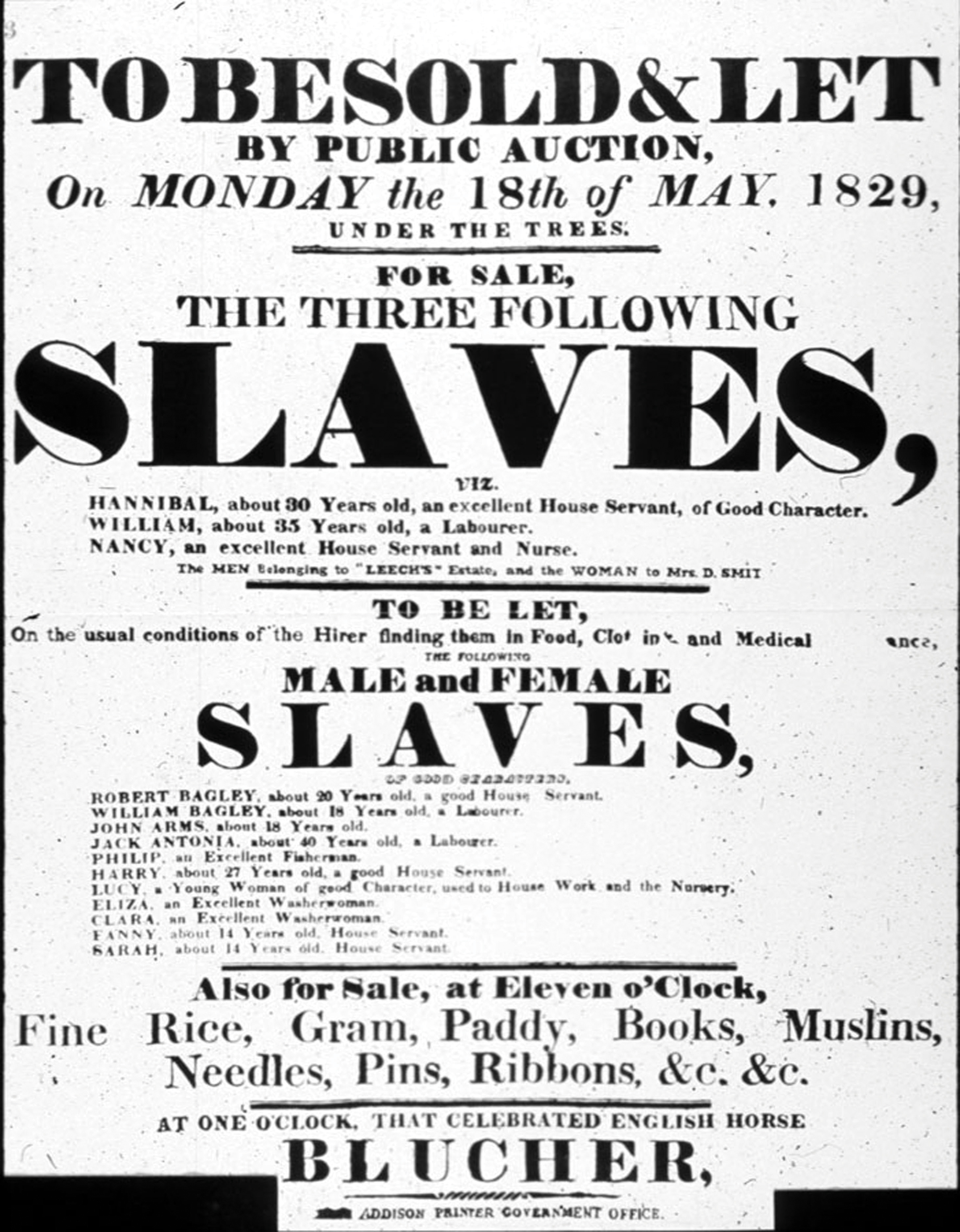 A flyer for buying slaves