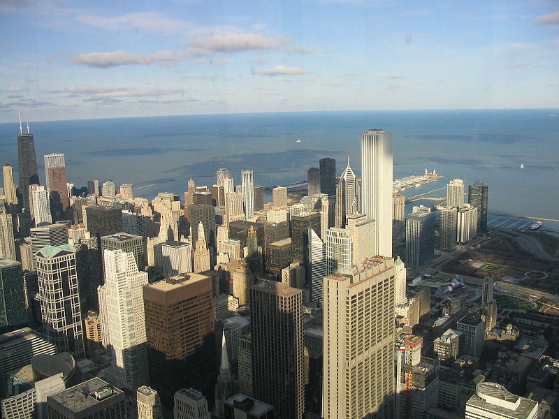 A view of Chicago's skyline from a building at the University of Chicago