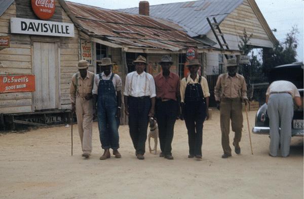 A line of African American men in Tuskeee