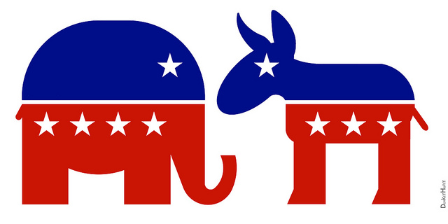 Republican Elephant and Democratic Donkey Icons