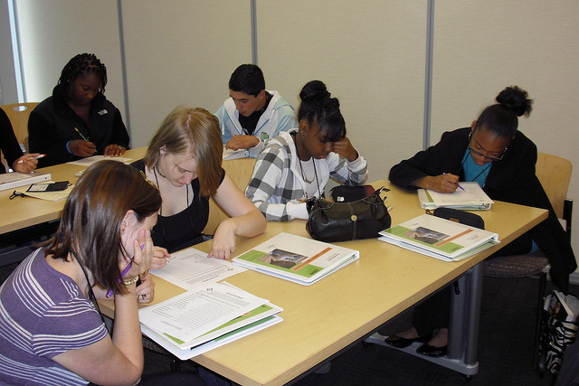High school students working in groups