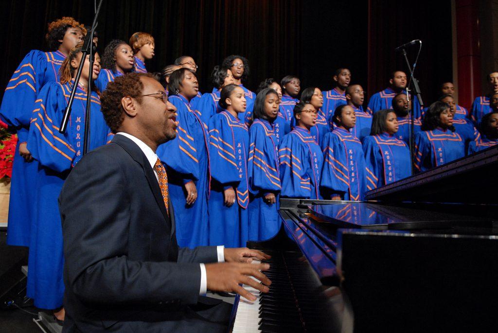 A church choir singing