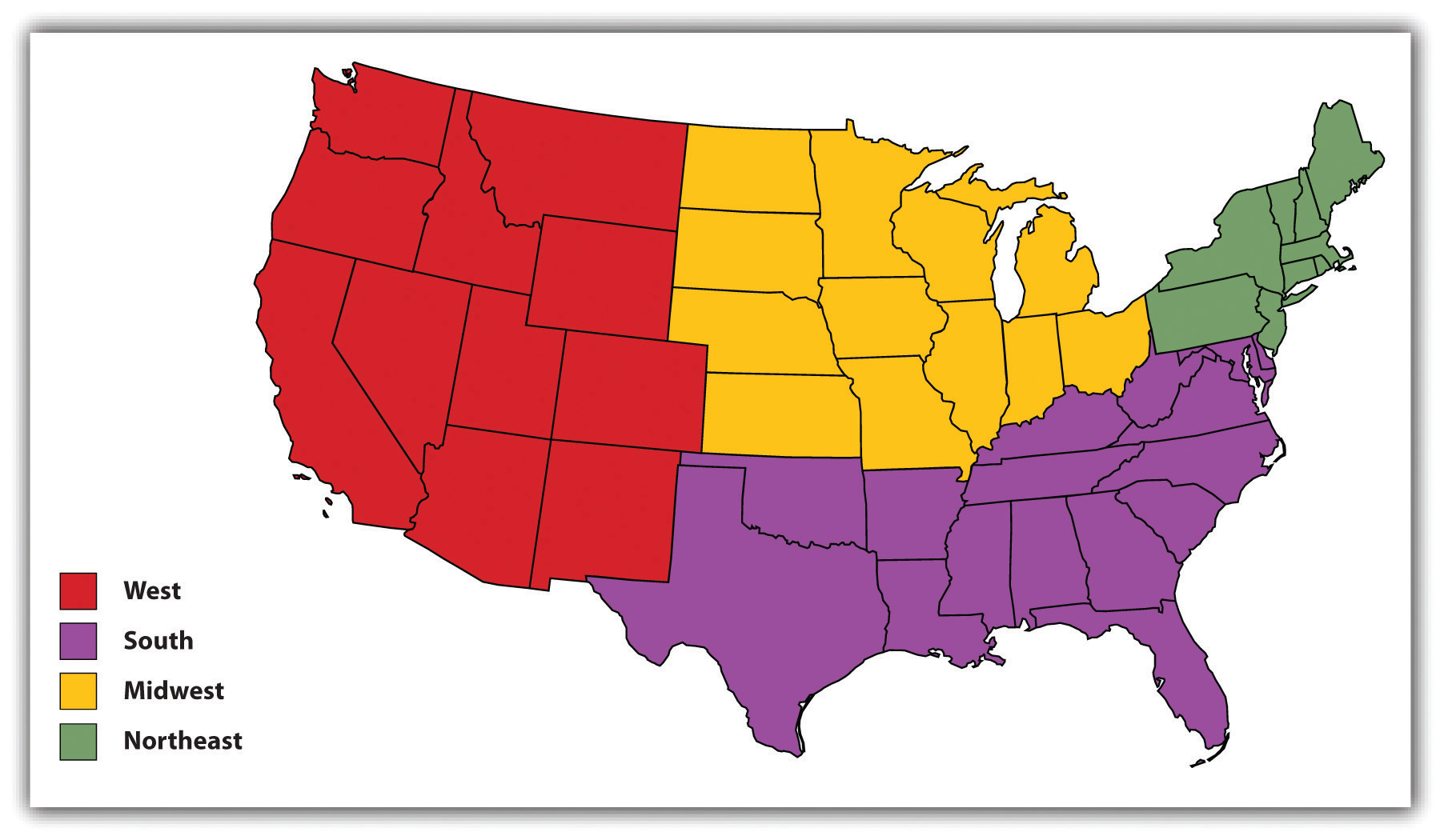 The US separated into sections: west, south, midwest, and northeast