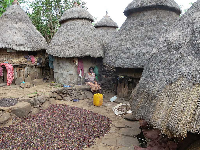 A few huts made from mud and straw in Ethiopia, illustrating the extreme poverty there