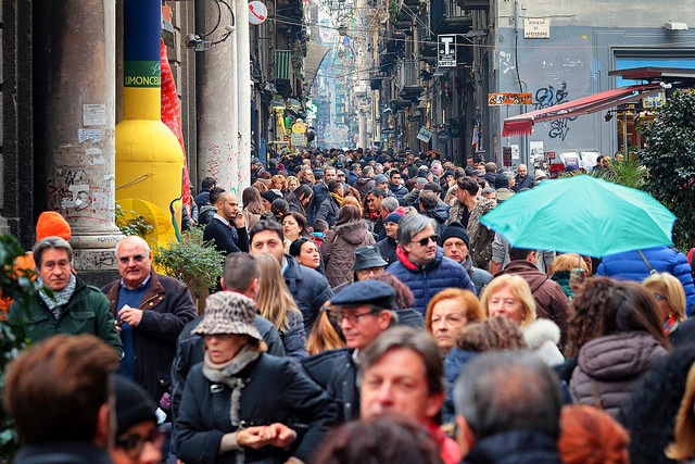 Many people on a crowded street