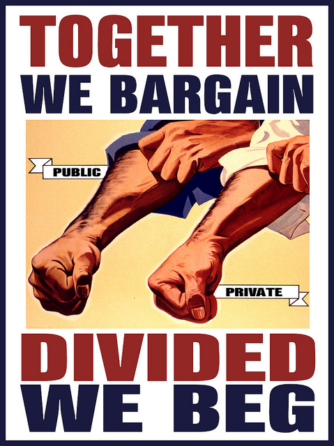 A labor union poster claiming