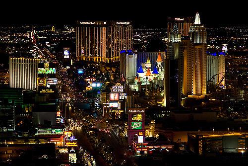 An aerial view of Las Vegas Boulevard