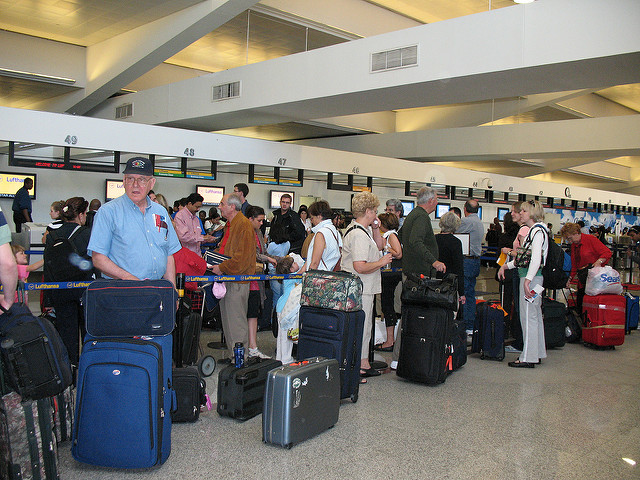 ATL Delta's baggage check. Today it is very packed, pre-9/11 it was not nearly this extensive