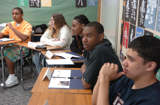 Different races of teens participating in a focus group