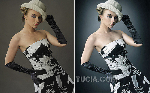 A before and after picture of a woman posing for Glamour magazine. The pictures are before and after retouching is done