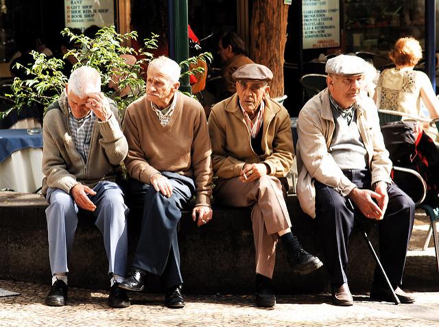 Four elderly men