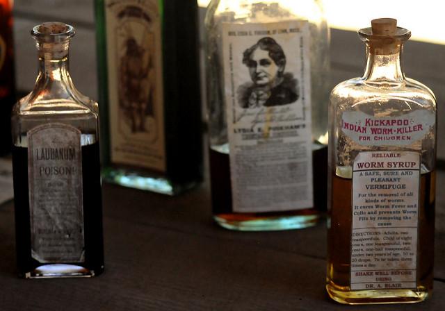 Bottles of famous elixirs