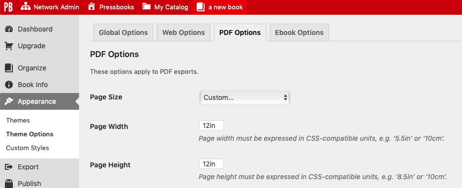 Page size width and height settings on the PDF Options page
