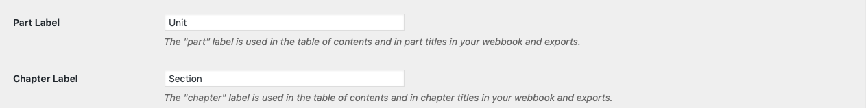 Part and Chapter label theme option on the Global Options tab.