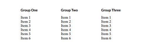 Example of three column display in PDF output