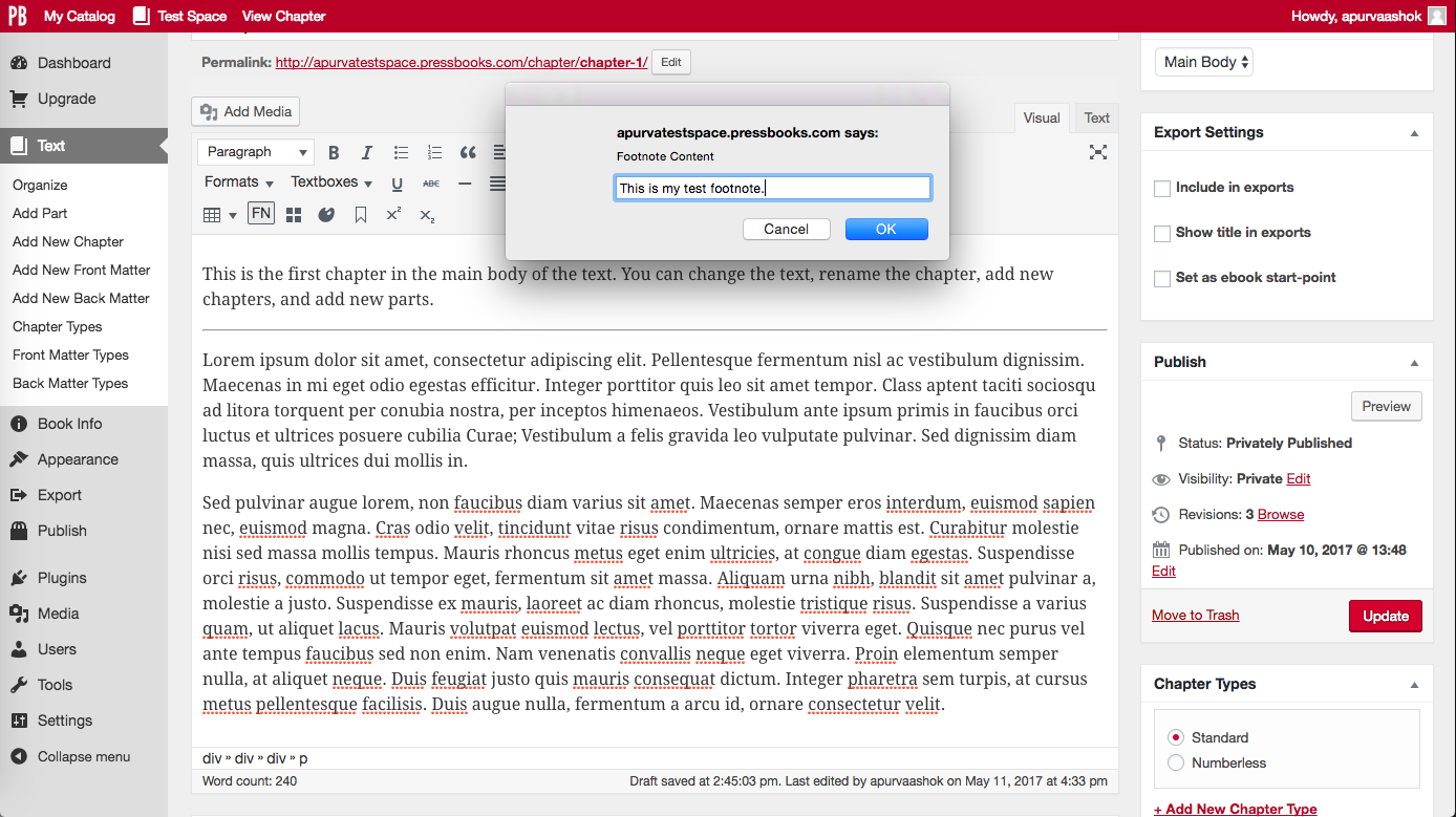 "Click ""FN"" button and type footnote into pop-up window"