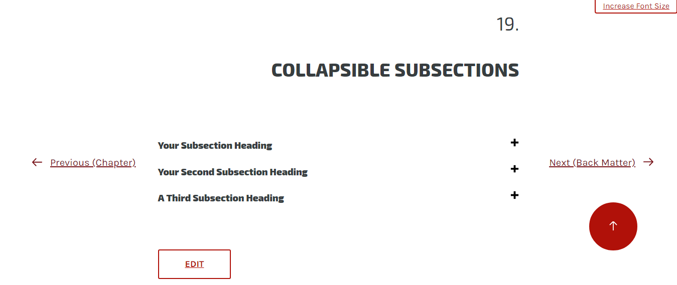 Click the subsection title or plus mark to open the collapsed section.