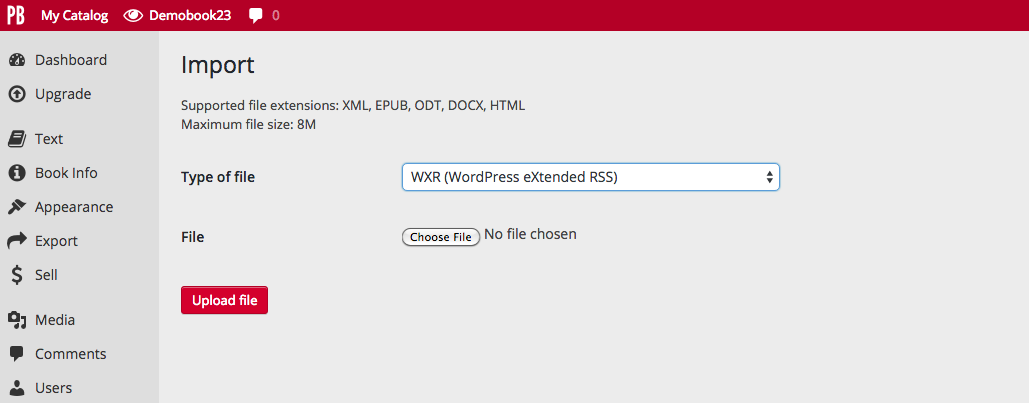 How to import WXR files in Pressbooks