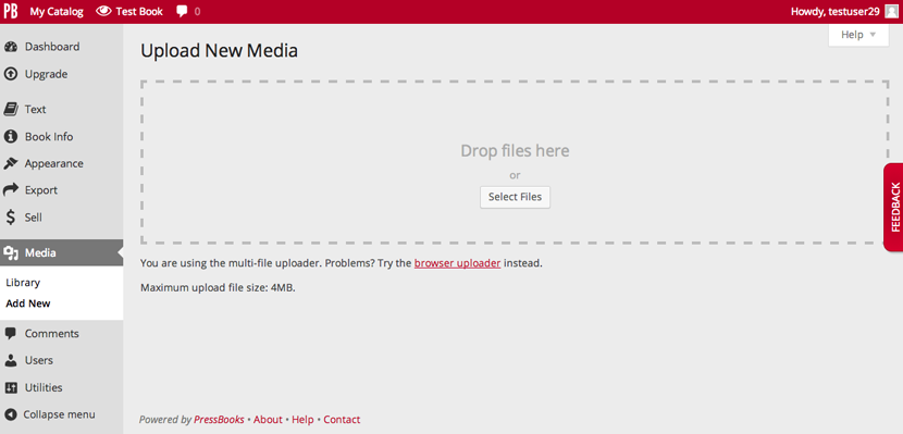 Upload media screen