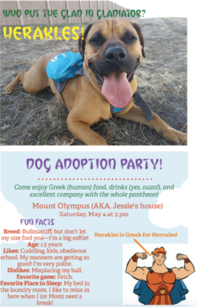 """The same invitation revised. The image is a bullmastiff laying down looking at the camera with his tongue out. He looks strong but non-threatening. Under fun facts about the dog it reads: """"Don't let my size fool you—I'm a big softie!"""" And, """"Likes' cuddling, kids, and obedience."""""""