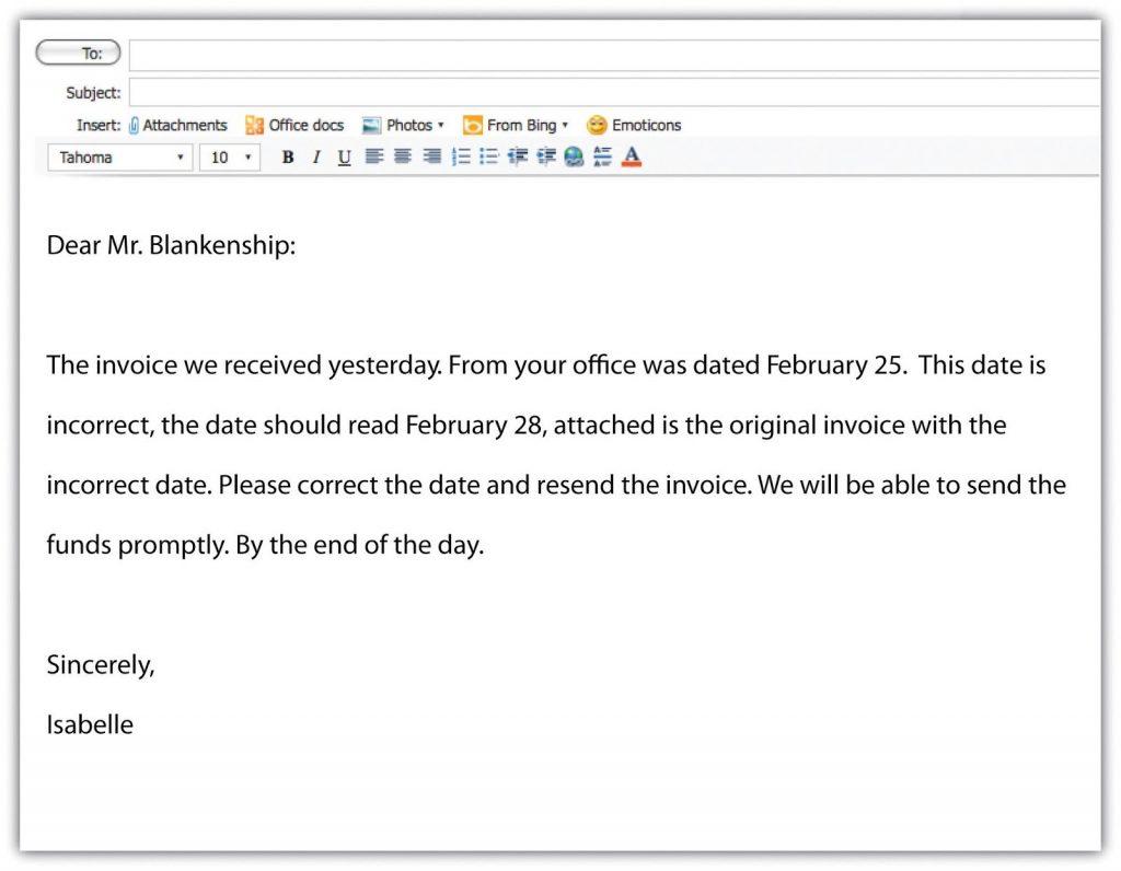 Sample e-mail