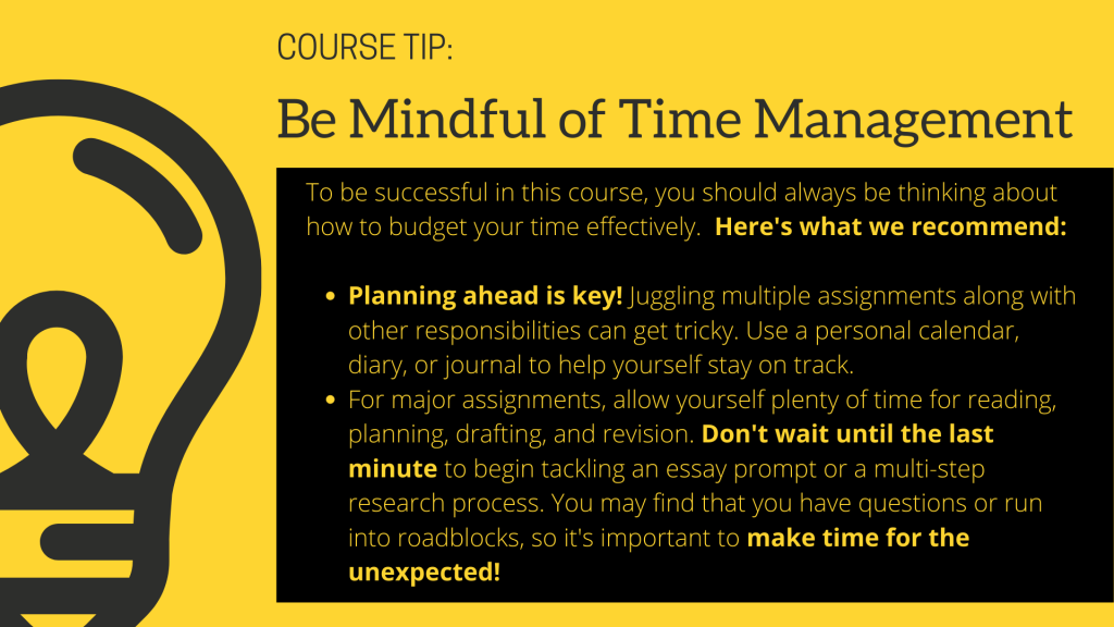 Course Tip: Be Mindful of Time Management