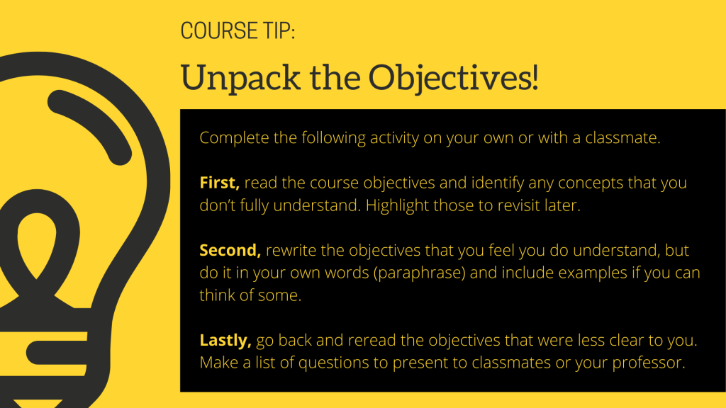 Course Tip: Unpack the Objectives