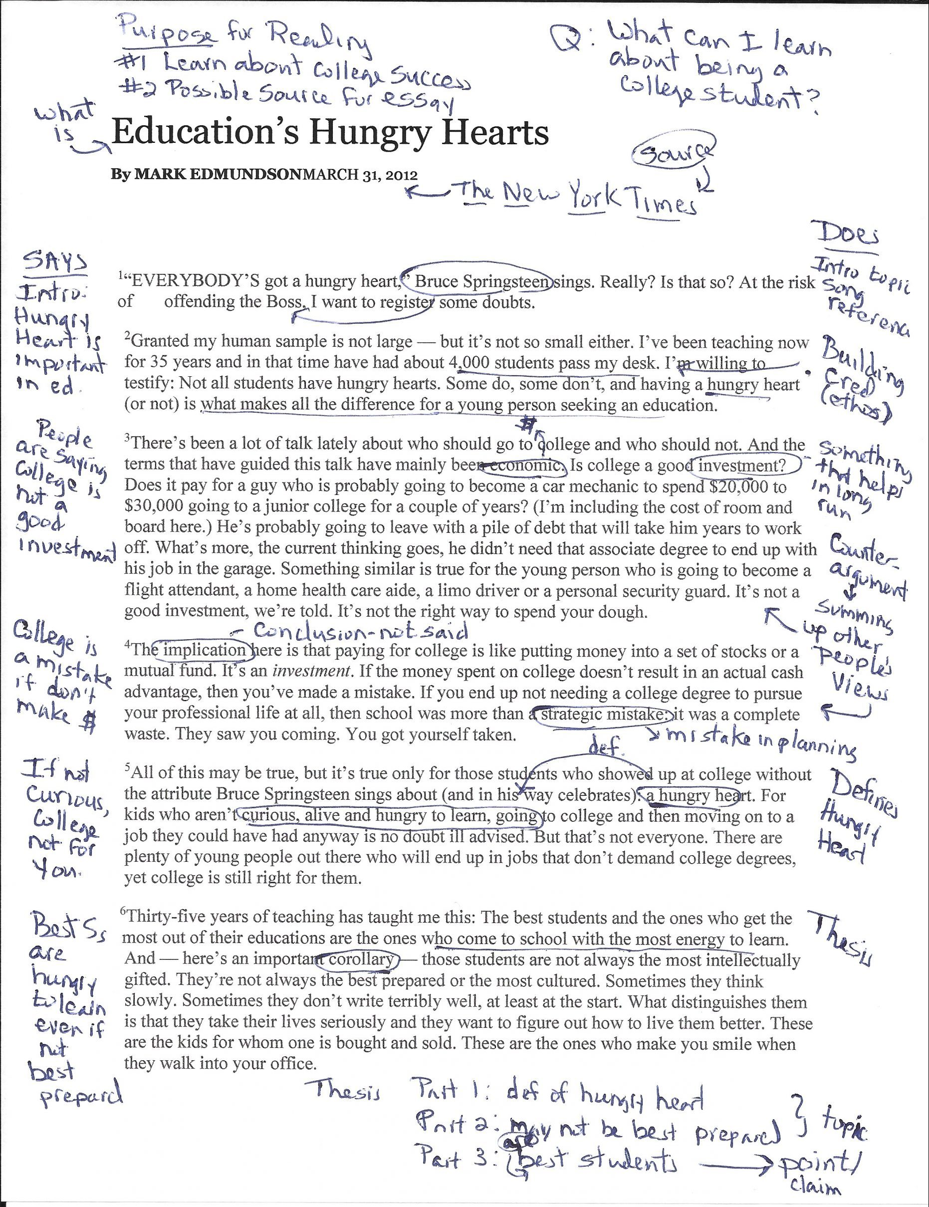 A scanned article titled 'Education's Hungry Hearts.' It is heavily annotated in blue pen.