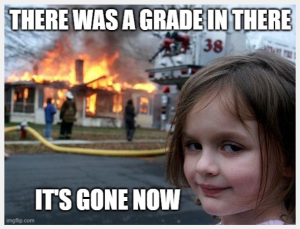 Photo of a little girl smiling outside of a burning house. Title: There was a grade in there. It's gone now.