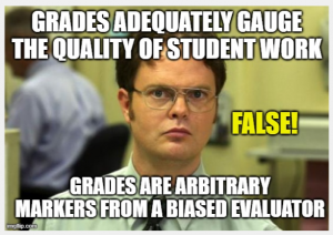 Photo of Dwight from The Office. Title: Grades adequately gauge the quality of student work. False! Grades are arbitrary markers from a biased evaluator.